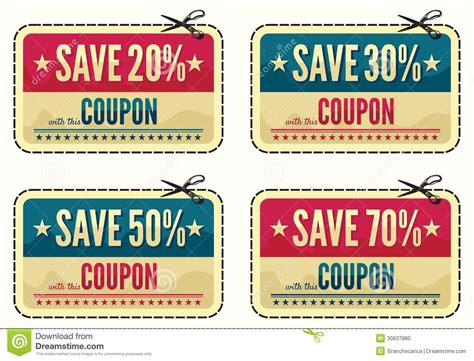 Coupon Sale Collection Stock Photo