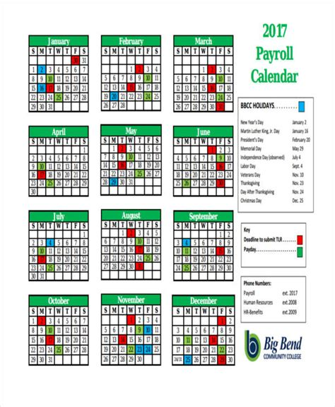 payroll calendar templates sample premium templates
