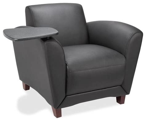 Lorell Reception Seating Chair With Tablet, Leather Black