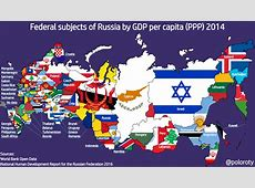 Map comparing Russian federal subjects GDP PPP per