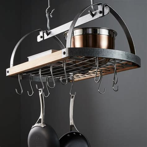 enclume hammered steelwood oval ceiling pot rack