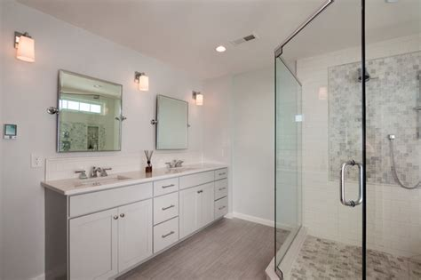 narrow depth double vanity transitional bathroom