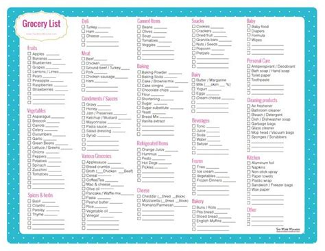 Free Printable Grocery Shopping List