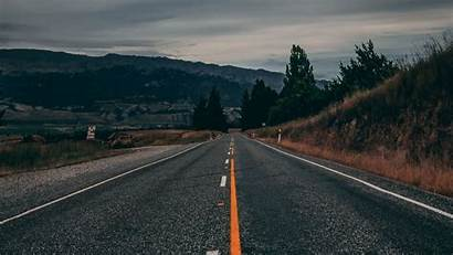 Road Marking Mountains Background Zealand Widescreen Direction