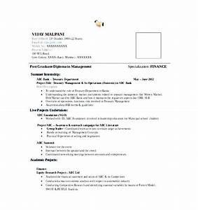 100 Resume For Mba Fresher In Finance