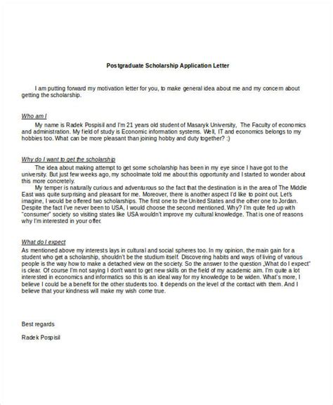 scholarship application letters 11 free word pdf