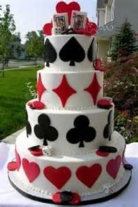 Card Red and White Wedding Cakes