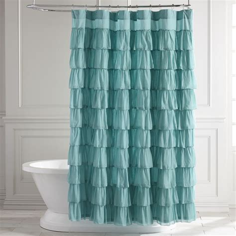 turquoise shower curtain ruffled turquoise shower curtain everything turquoise