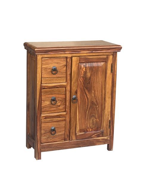 Small Wood Cabinet by Small Sheesham Wood Cabinet With 3 Drawers And 1 Door
