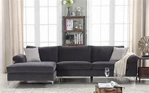 Velvet sectional sofa amanda modern velvet large for Contemporary velvet sectional sofa