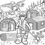 Coloring Log Cabin Train Dragon Viking Popular sketch template