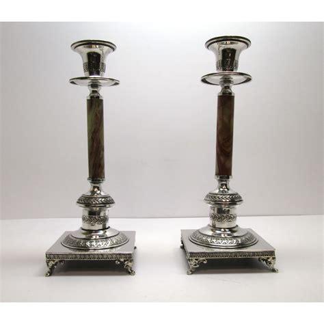 candelieri in argento due candelieri ad un fuoco in argento 800 e onice