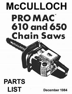 Mcculloch 610-650 Manual Package