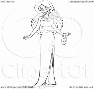 Clipart of a Black and White Woman in a Formal Evening ...