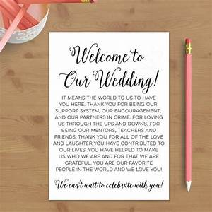 printable wedding welcome letter instant download With sample wedding welcome letter