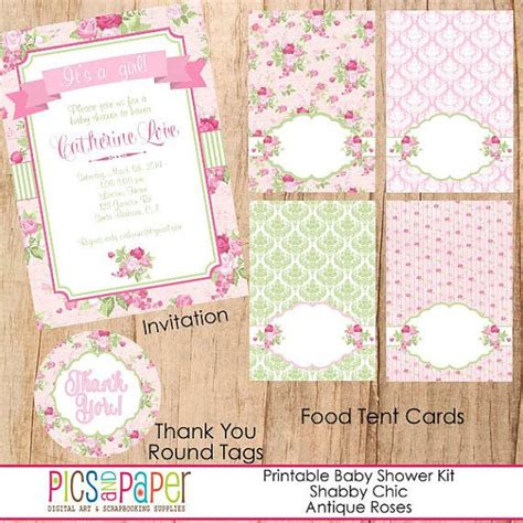 shabby chic theme baby shower printable party kit for a baby cupcake toppers bunting
