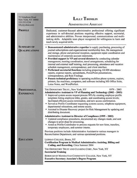 Office Resume Sles For Secretaries by Resume Exle Sle