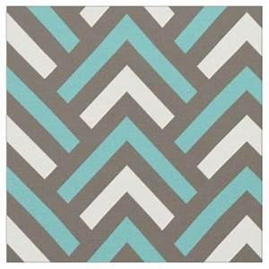 Teal Chevron Pattern Fabric Zazzle