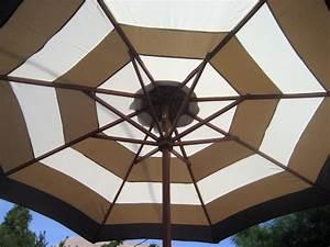 9 Ft Market Patio Umbrella Brown And Beige Stripe New