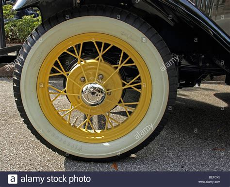 White Walled Tire For Model T Ford With Gold Spokes