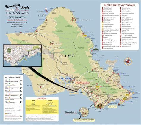 oahu moped map hawaii moped scooter rental  map