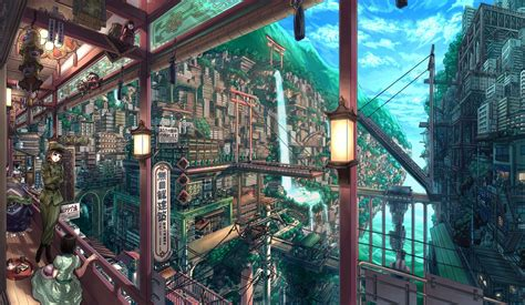 Anime City Scenery Wallpaper - anime city scenery wallpaper wallpaperhdc