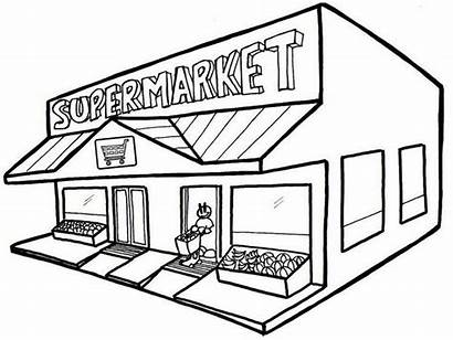 Grocery Supermarket Coloring Drawing Shopping Clipart Cool