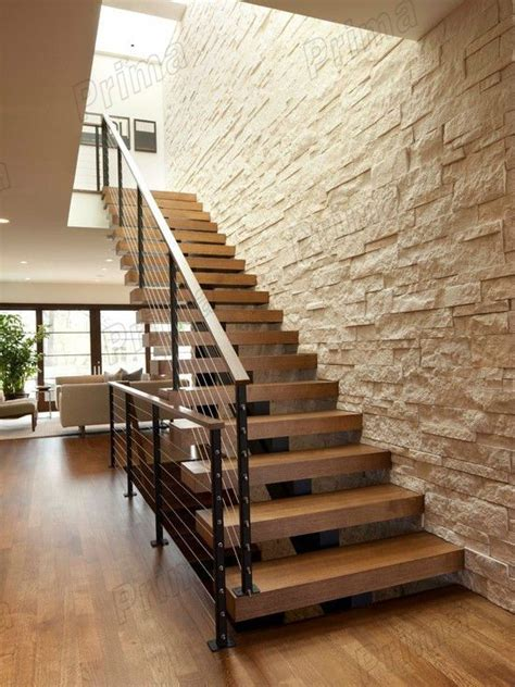house design wrought iron cable railing modern wood stairs