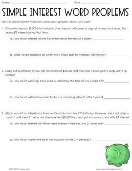 simple interest word problems worksheet by lindsay perro tpt