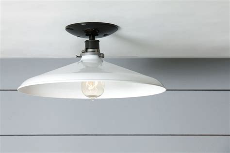 Electric Kitchen Ceiling Lights by Industrial Ceiling Mount Light 14in White Metal Shade