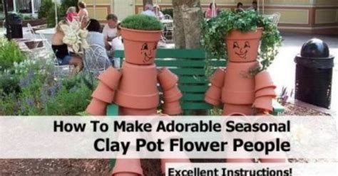 adorable seasonal clay pot flower people