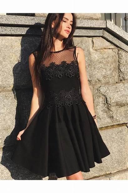 Short Dresses Line Neck Round Lace Prom
