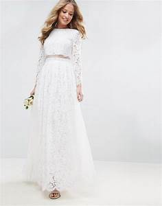 Asos edition asos bridal lace long sleeve crop top maxi for Long sleeve maxi dresses for weddings