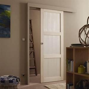Fabriquer Sa Porte Coulissante Sur Mesure : ensemble porte coulissante bowen paulownia avec le rail ~ Premium-room.com Idées de Décoration