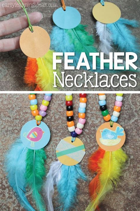 fine motor activity  kids  feather necklaces