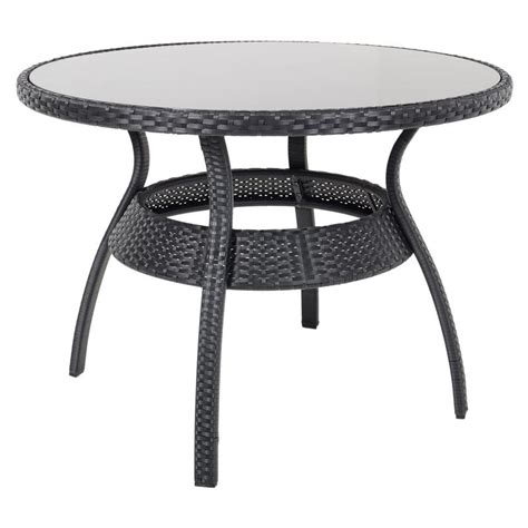 black ravenna rattan wicker garden dining table set with 4
