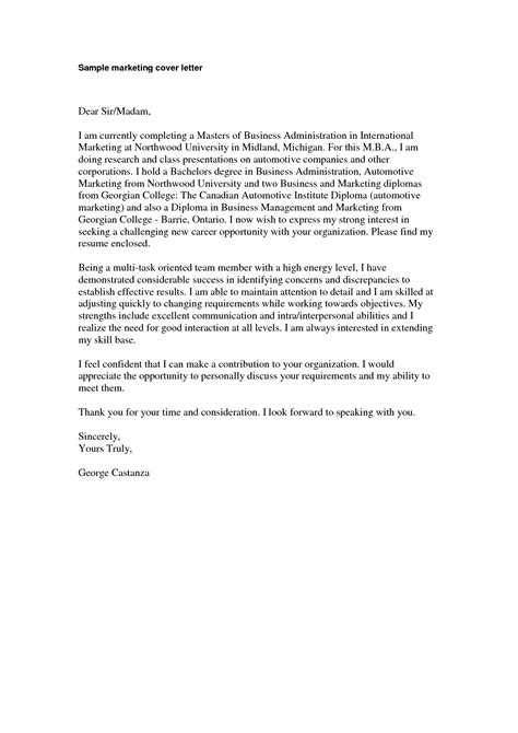 marketing cover letter sample marketing cover letter
