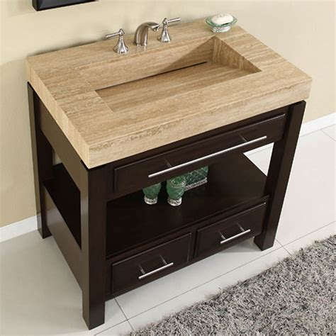 espresso single sink bathroom vanity  travertine