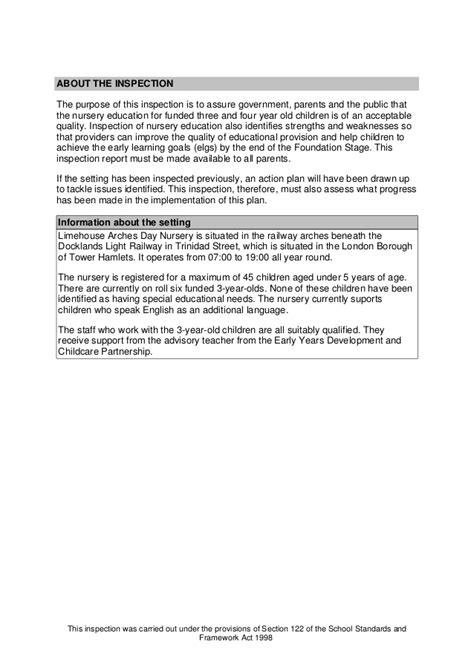 nursery education inspection report