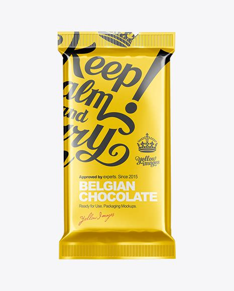 Grab this freebie now and keep share. Chocolate Bar Mock-up in Flow-Pack Mockups on Yellow ...