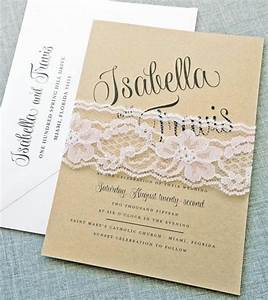 isabella script recycled kraft wedding invitation sample With lace belly band for wedding invitations