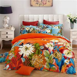 Bright, Colored, Flowers, Orange, Pink, Bedding, Set, Queen, King