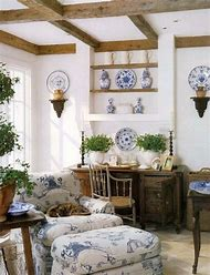 Blue and White French Country Cottage Decor