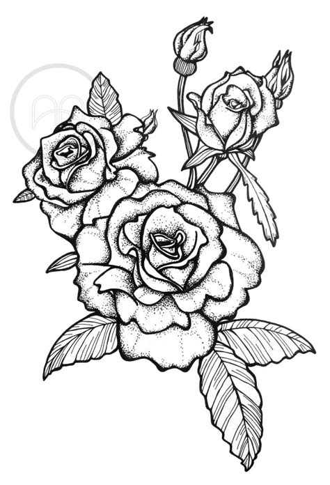 Rose tattoo, pointilism Illustration by Studio Anika Bosker | Tattoo coloring book, Pink drawing