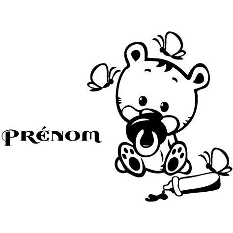 prenom sur porte chambre sticker prénom personnalisé bébé ourson texte