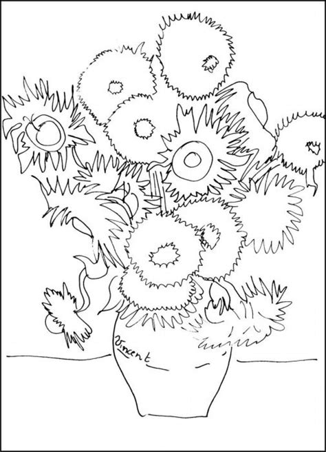van gogh coloring book pages coloring pages - Sunflower Coloring Page Van Gogh