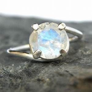 Rainbow Moonstone Engagement Ring in Sterling Silver ...