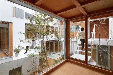 modern japanese house  courtyard wins  indoor
