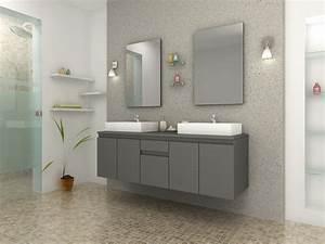 But Salle De Bain : meuble de salle de bain double vasque carr gris mat ~ Dallasstarsshop.com Idées de Décoration