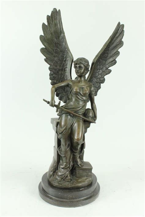details   tall real bronze french angel  sword